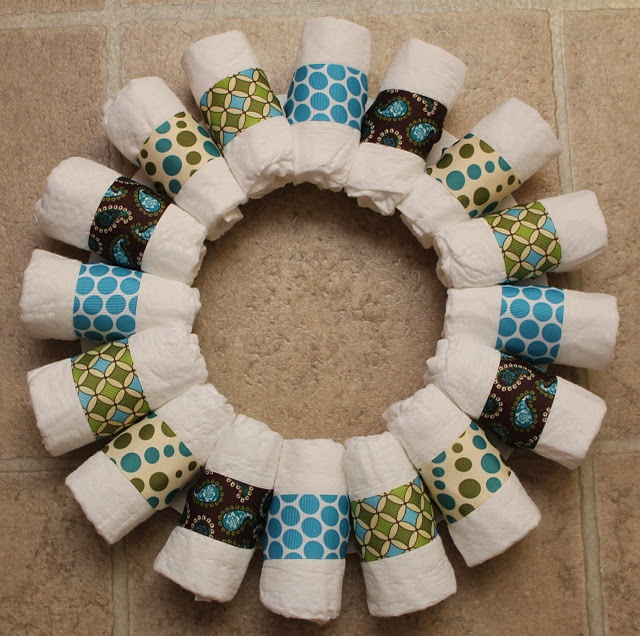 Diaper Wreath for Baby Showers