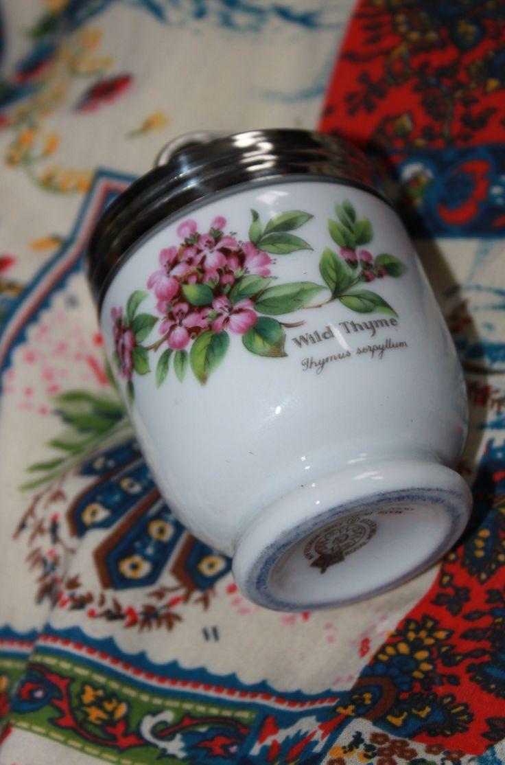 Egg Coddler Herbs Design in Original Box . Sage & Wilde Thyme Pattern by Royal Worcester by AtticBazaar on Etsy