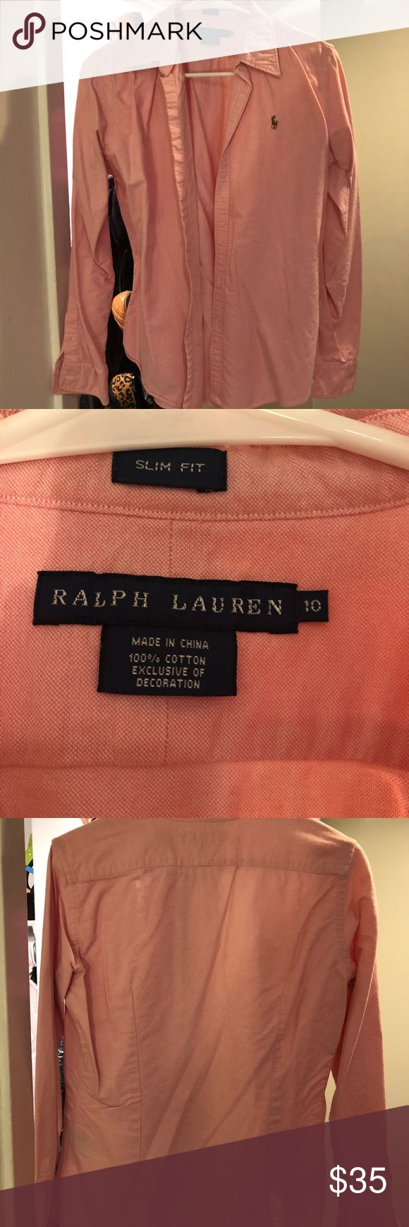 Ralph Lauren Slim Fit Button Down Worn just a handful of times! Beautiful pastel pink. Statement yellow striped pattern under collar if you like to pop your collar. Ralph Lauren Tops Button Down Shirts