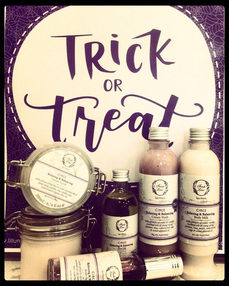 Happy #halloween with #circe! Μαγέψτε τους γύρω σας με ένα άρωμα εμπνευσμένο από τη μάγισσα της ελληνικής μυθολογίας, Κίρκη…Οι μαγικές ιδιότητες που προσφέρουν η βανίλια, τα αιθέρια έλαια υλάνγκ-υλάνγκ, γιασεμιού & ξύλου κέδρου θα σας μεταμορφώσουν, ενώ το πουδρέ & φλοράλ άρωμα που αφήνει θα χαλαρώσει τις αισθήσεις σας! #freshline #circe #essential_oils #violet #vanilla #ylang_ylang #jasmine #cedarwood #relaxing #balancing #moisturize #hydrate #supple