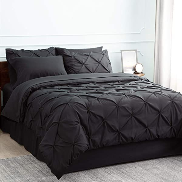 Comforter Sets Bedsure Comforter Set Full Queen Bed In A Bag Black 8 Pieces 1 Pinch Pleat Comforter 88x88 Inches 2 Pillow Shams Flat Sheet Fitted Sheet Bed Comforter Sets Comforter King size comforters on sale