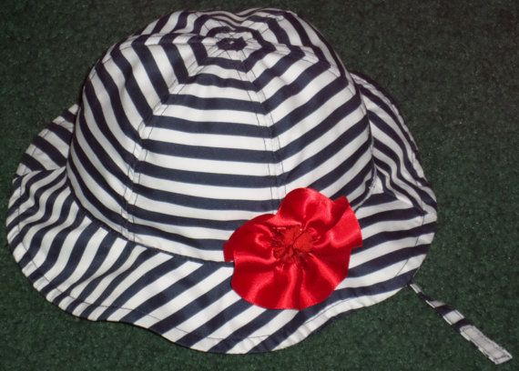 Sun Hat For Baby  Baby Girls Red White And Blue by SugarBearHair