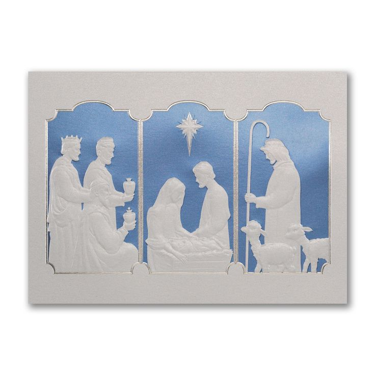This touching nativity scene shines in silver foil and blue a beautiful religious card to send your christmas message