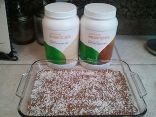 These are the most delicious Vegan Protein Bars I have ever tasted... Yummy Arbonne Protein Bars  1 16 oz. jar of Trader Joe's Almond Butter with flax seeds, crunchy and salted  1 ¾ cups Agave Nectar  1 1/8 cup Arbonne Vanilla Protein powder  1 1/8 cup Arbonne Chocolate Protein powder  2 scoops Arbonne Essentials Fiber powder  3 cups EnviroKidz Organic Koala Crisp Cereal (Brown Rice Crispies)  Can also substitute 3 cups rolled oats for cereal for ... # 115365142 @ www.arbonne.ca