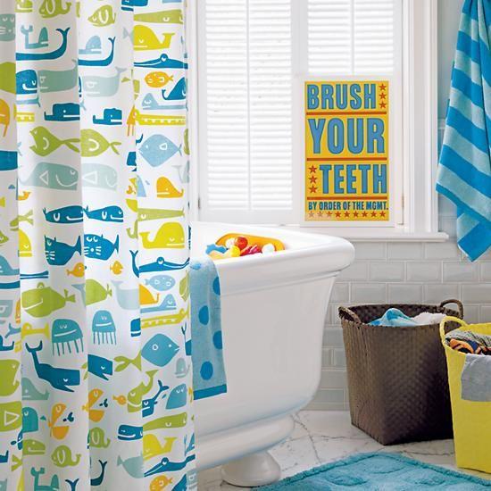 Plenty of fish in the sea shower curtain in bathroom d cor for Kids bathroom accessories