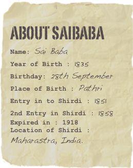 Shirdi Saibaba Site | Story of Shirdi Saibaba.....