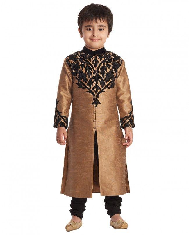 Antique Gold and Black Sherwani Set - Kidswear