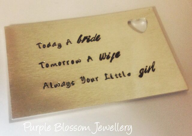 Hand stamped wallet card designed for a wedding. Can have any wording stamped on to it and is able to fit a fair amount of text on. Perfect gift for the groom, best man, father of the bride etc. Can be found at www.facebook.com/purpleblossomjewellery