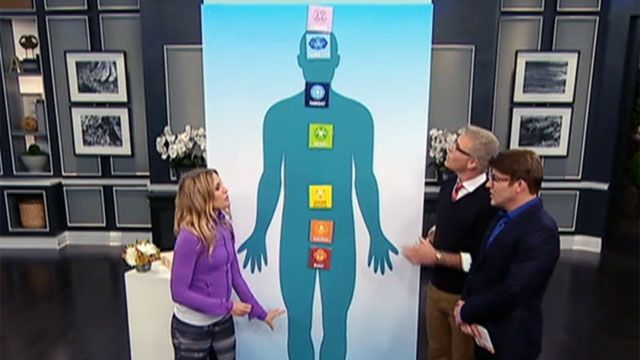Jana Webb showing Steven Sabados and Chris Hyndman the seven main chakras in the human body.