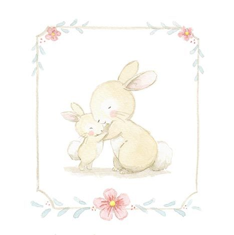 Ilustracion infantil abrazo conejitos