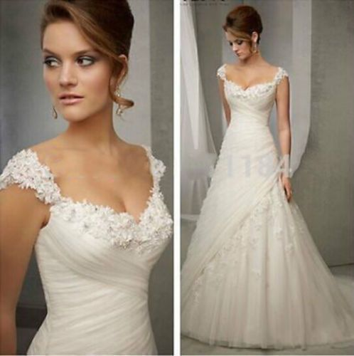 New White/Ivory Lace Wedding Dress Bridal Gown Custom Size 2 4 6 8 10 12 14 16+ in Clothing, Shoes & Accessories, Wedding & Formal Occasion, Wedding Dresses | eBay