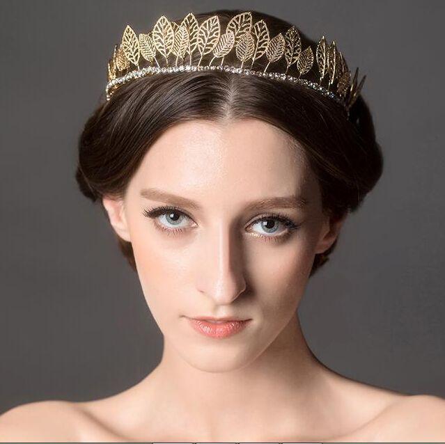 HG299 crown headdress wedding hair accessories golden leaves crowns vintage wedding dress access ...