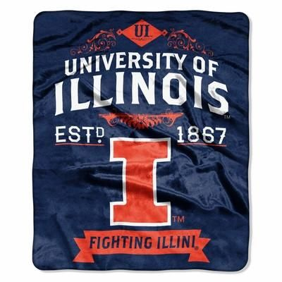 "Illinois Fighting Illini 50""x60"" Royal Plush Raschel Throw Blanket - Label Design"