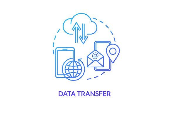 Data Transfer Blue Concept Icon In 2020 Colorful Drawings Line Illustration Concept