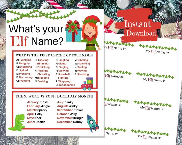 Gift Elf Name Game Christmas Party Game Elf Party Game Etsy Christmas Party Games Holiday Party Games Winter Party Games