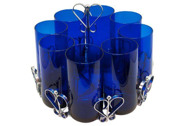 Cobalt Blue Glasses w/ Caddy, 9 Pcs