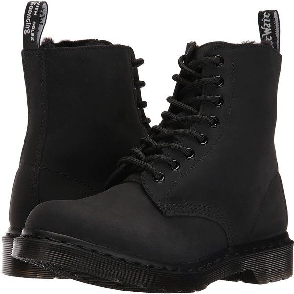 Dr. Martens Pascal FL 8-Eye Boot (Black Cascade Split) Women's Lace-up... ($78) ❤ liked on Polyvore featuring shoes, boots, black, nubuck boots, black laced shoes, laced up boots, laced boots and dr martens shoes