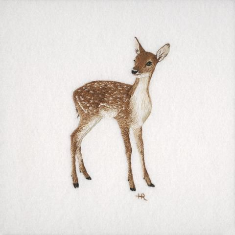 Fallow Dear Original Hand Embroidery