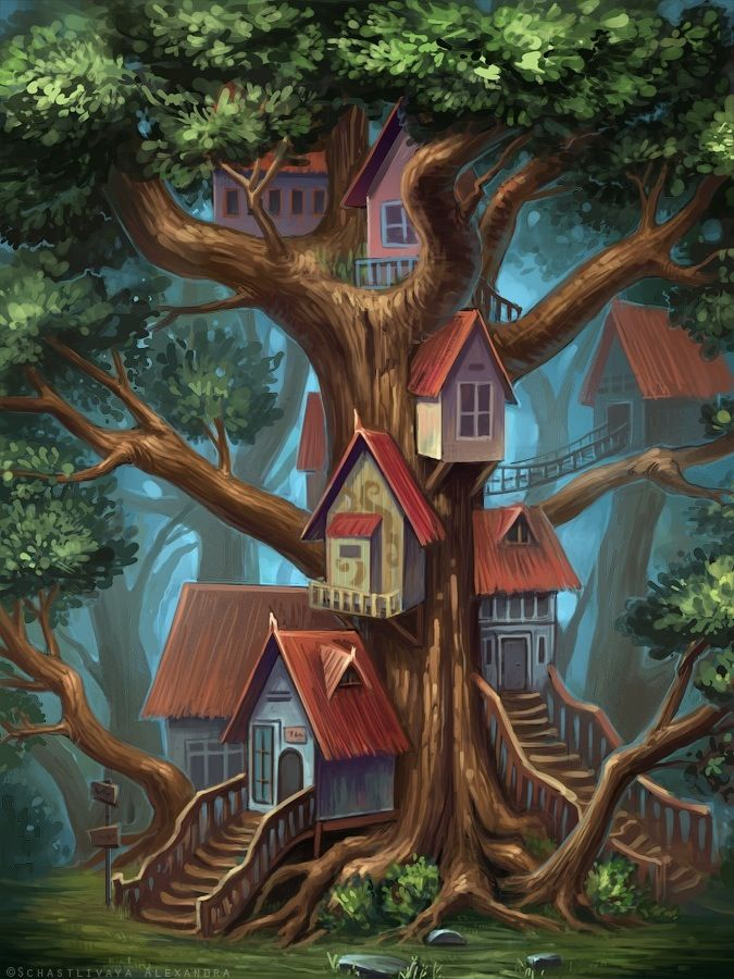 Http Sashulka Deviantart Com Art Houses On The Tree