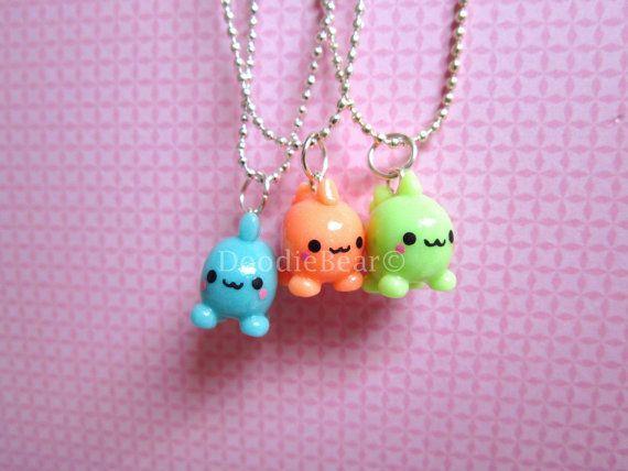 Dinosaur Friendship Glow In the Dark Kawaii Cute Polymer Clay Charms BFF Necklaces