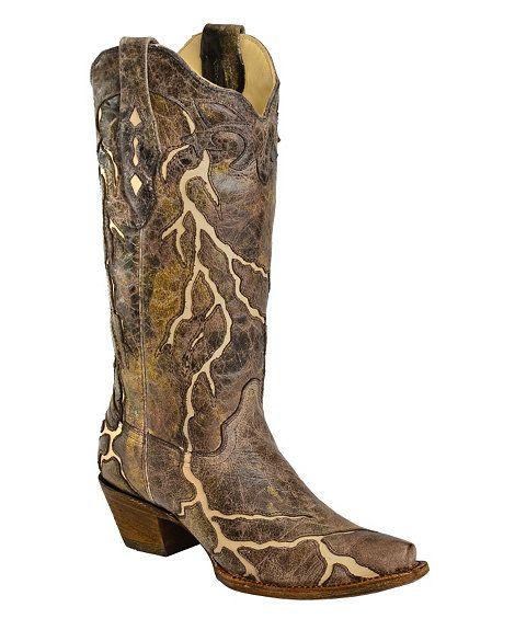 Corral Bone Lightning Inlay Cowgirl Boots - Snip Toe