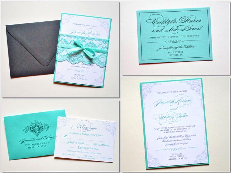 Tiffany Blue Wedding Invitations, Tiffany Blue Lace, Tiffany Blue And Grey Wedding  Invitations By