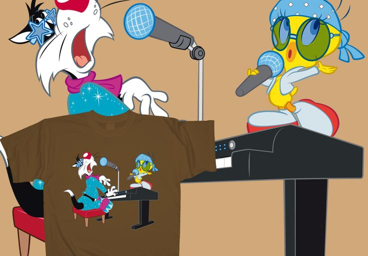 A magical performance, coming straight from Toon-vision heaven! #Sylvester and #Tweety's singing duet yours for €15, at http://www.toonshirts.com/products/looney-tunes/146-love-song