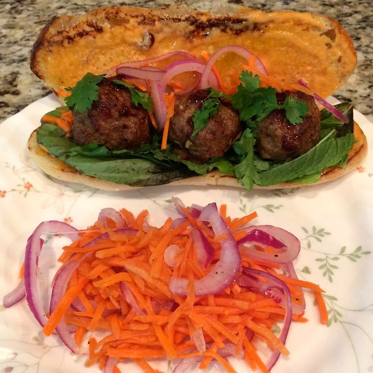 Plated Giveaway & 15th Delivery Review, Beef & Lamb Meatball Bánh Mì with Sriracha Aioli & Herb Salad