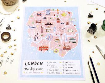 Londen kaart Britse Art Print stad kaart Poster door LiviGosling