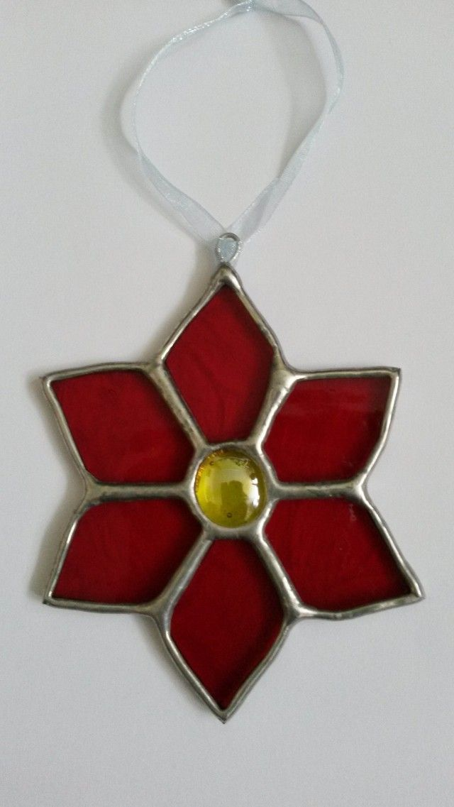 Christmas Stained Glass Ornaments Part - 43: Poinsettia Stained Glass Christmas Decoration