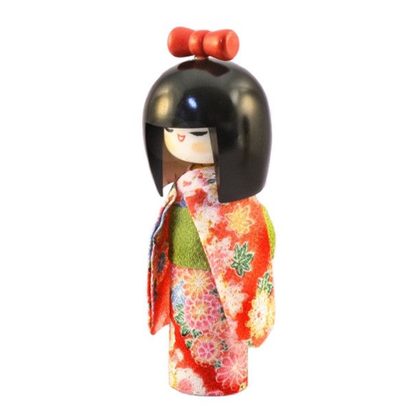 Kokeshi Doll dressed kokeshi osumashi Red (K12-4302R) Kokeshi Dolls are major dolls in Japan which are made from wood. Their origin was in Edo era (1603A.D. - 1867A.D.) as souvenirs for the injured at