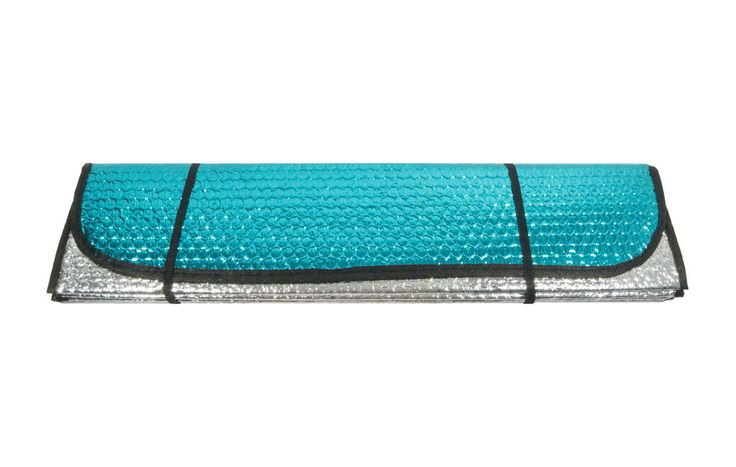 Reversible Reflective Windshield Sun Shade in Teal & Silver