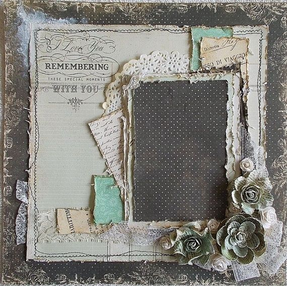 heritage premade scrapbook pages | Premade 12x12 Shabby Chic Heritage Layout Vintage by Featherrs, $30.00
