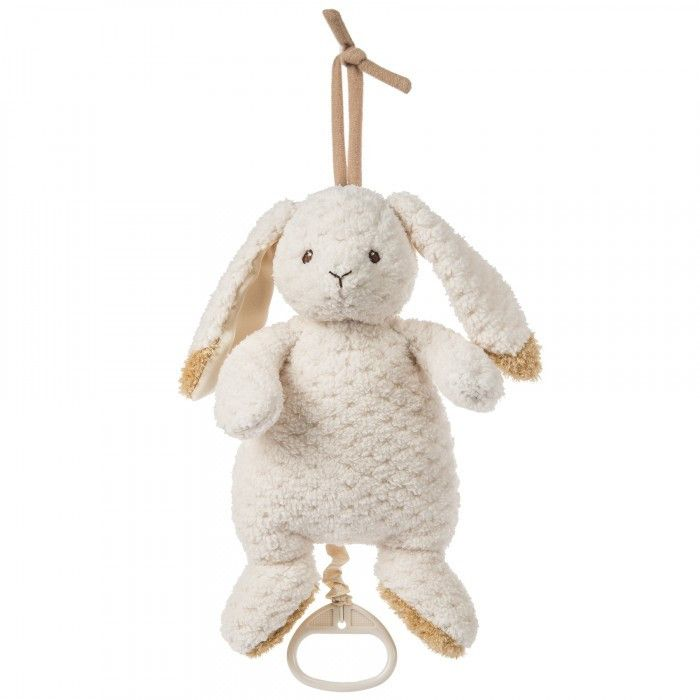 """Mary Meyer baby Oatmeal Bunny pull down musical makes an ideal companion for baby girls and boys! Tan trimmed ears and textured plush give Oatmeal a baby sweet and natural appeal. Plays """"Bluebird of Happiness.""""      Plays """"Bluebird of Happiness""""     Pull down on handle to play traditional music box melody     Measures 10"""""""