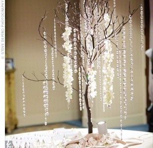 centerpieces will be dark brown manzanita branches in a wide cylinder vase with lots of clear hanging crystals.  Crystals in base of cylinder as well.  Flank with two smaller cylinders (RD) with ivory floating candles.