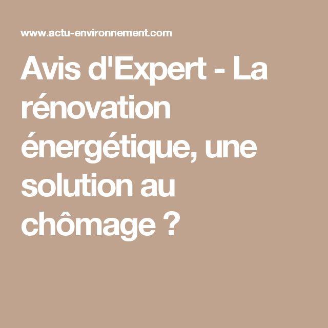 Avis d'Expert - La rénovation énergétique, une solution au chômage?
