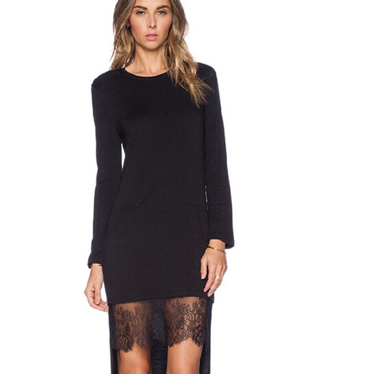 Lace Patchwork Asymmetrical Dress desigual Fashion Women O-neck Long Sleeve Elegant Black Dress vestido YBS1