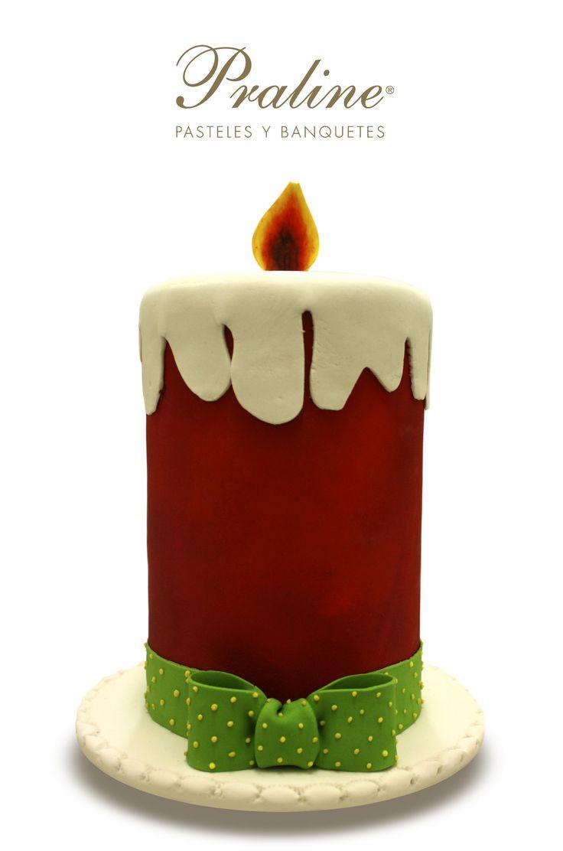 Como postre rico y lucidor pide este pastel con forma de vela de Navidad @praline_mexico