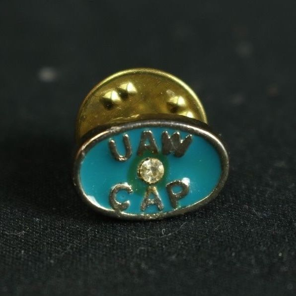 VINTAGE UAW CAP MEMBERS LAPEL PIN WITH RHINESTONE GOLD & TURQUOISE in Collectibles, Historical Memorabilia, Fraternal Organizations | eBay