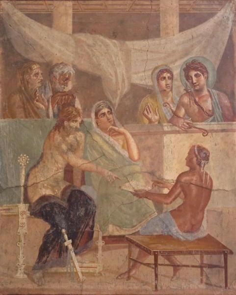 Alcestis y Admeto: fresco de una casa de Pompeya.