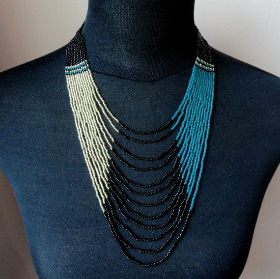 African style Zulu beaded multistrand necklace gold teal black, Bead statement necklace, Gifts on Etsy, $33.00