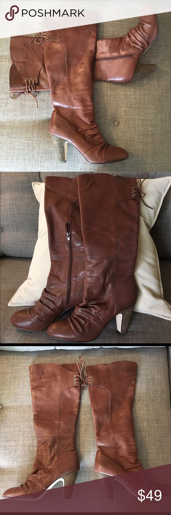 Seychelles Boots Great pair of Seychelles boots. Lace up detail in back. Leather upper. Good condition. Seychelles Shoes Heeled Boots