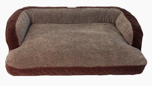 """Floppy Ears Design Microfiber and Fleece Surround Bolster Dog Bed, Medium Size (for Large Dogs), 40"""" x 29"""", Chocolate"""