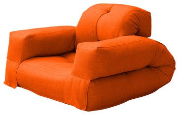 Hippo Convertible Futon Chair/Bed, Orange Mattress contemporary sofa beds