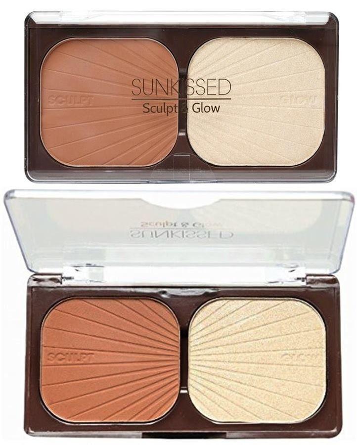 Σχηματίστε γωνίες στο πρόσωπό σας και φωτίστε τα χαρακτηριστικά σας με το Sunkissed Sculpt & Glow! Αυτό το εύχρηστο σετ περιλαμβάνει ματ bronzer και highlighter και είναι ιδανικό για να το έχετε στη τσάντα σας οποιαδήποτε στιγμή!Tips: Χρησιμοποιήστε το bronzer κάτω από τα κόκκαλα των ζυγωμ