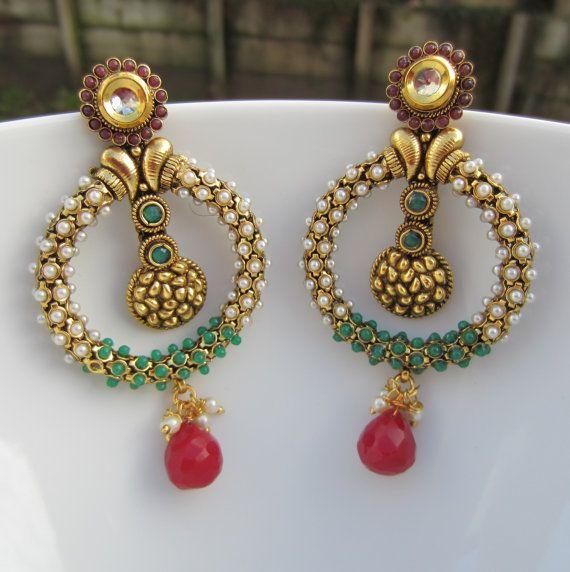 Kundan Pearl Hoops Earrings Indian Jewelry Wedding Gift For Her