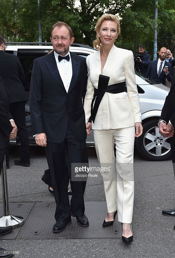 Cate Blanchett and Andrew Upton attend the Giorgio Armani 40th Anniversary Silos Opening And Cocktail Reception on (April 30, 2015) in Milan, Italy.
