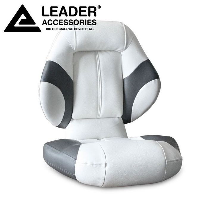 Leader Accessories Bass Boat Seat Fishing Chair Gray White