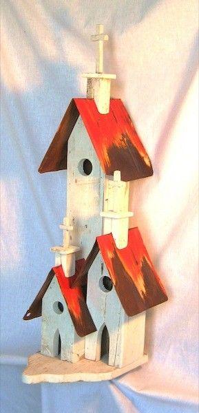 Folk Art Bird Houses | Triple Mission Birdhouse - Bird Houses By David Bruce - Folk Art
