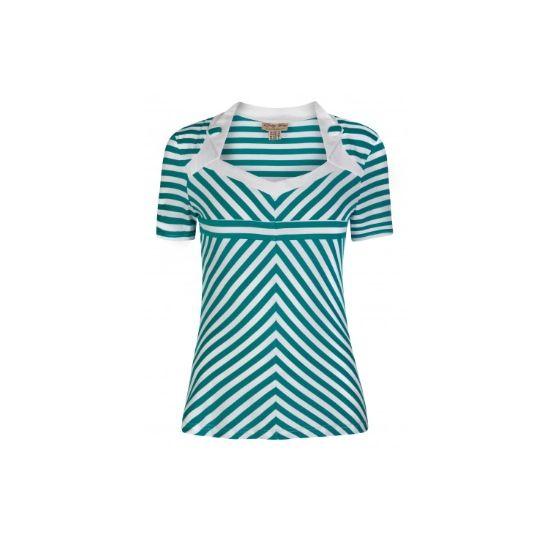 Retro Top Lindy Bop Rosaline Green Stripe Nádherný top se zeleno-bílým proužkem. Obléknete ho k sukni, džínám i kraťasům a stále budete TOP, ať budete kdekoli. Zajímavě řešený dekolt, zdobený malými klopami s knoflíky, krátký rukávek, skvěle protáhne siluetu. Příjemný, lehký, pružný materiál (65% polyester, 30% rayon, 5% elastan).